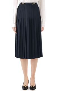 Gucci Leather Trim Pleated Wool Blend Skirt