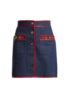 Gucci Leather-trimmed denim mini skirt