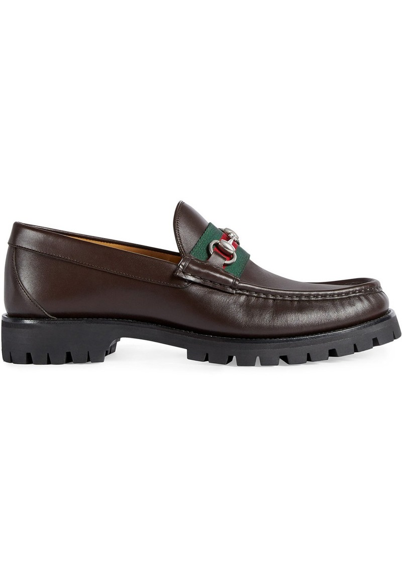 35d3ad6d4 Gucci Gucci Leather Web Horsebit loafers - Brown | Shoes