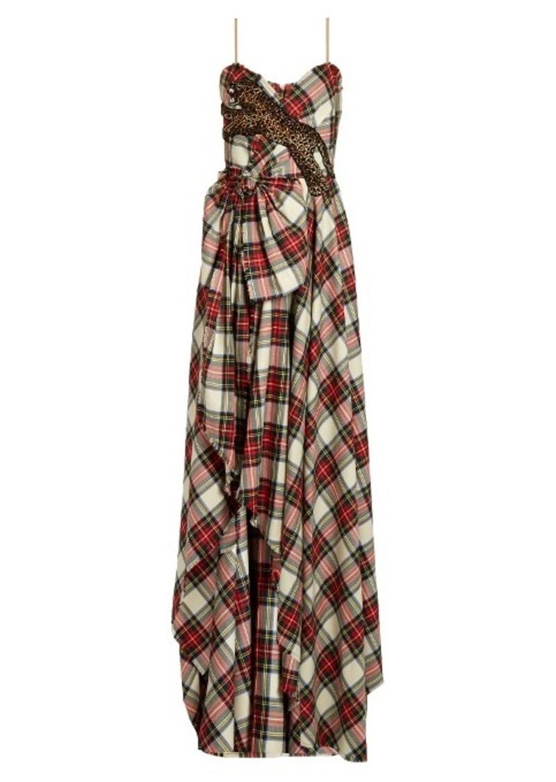 Gucci Gucci Leopard-appliqué wool tartan gown | Dresses - Shop It To Me