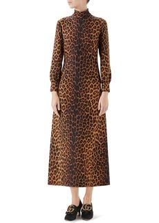 Gucci Leopard Print Cady Midi Dress