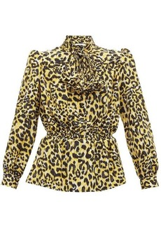 Gucci Leopard-print silk crepe de Chine blouse