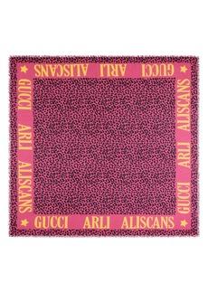 Gucci Leos Arles Modal & Silk Leopard Print Scarf