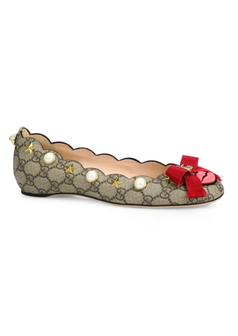 bc6551638 On Sale today! Gucci Gucci Lexi Studded GG Supreme Lip Ballet Flats