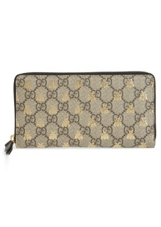 Gucci Linea A Bee GG Zip-Around Wallet