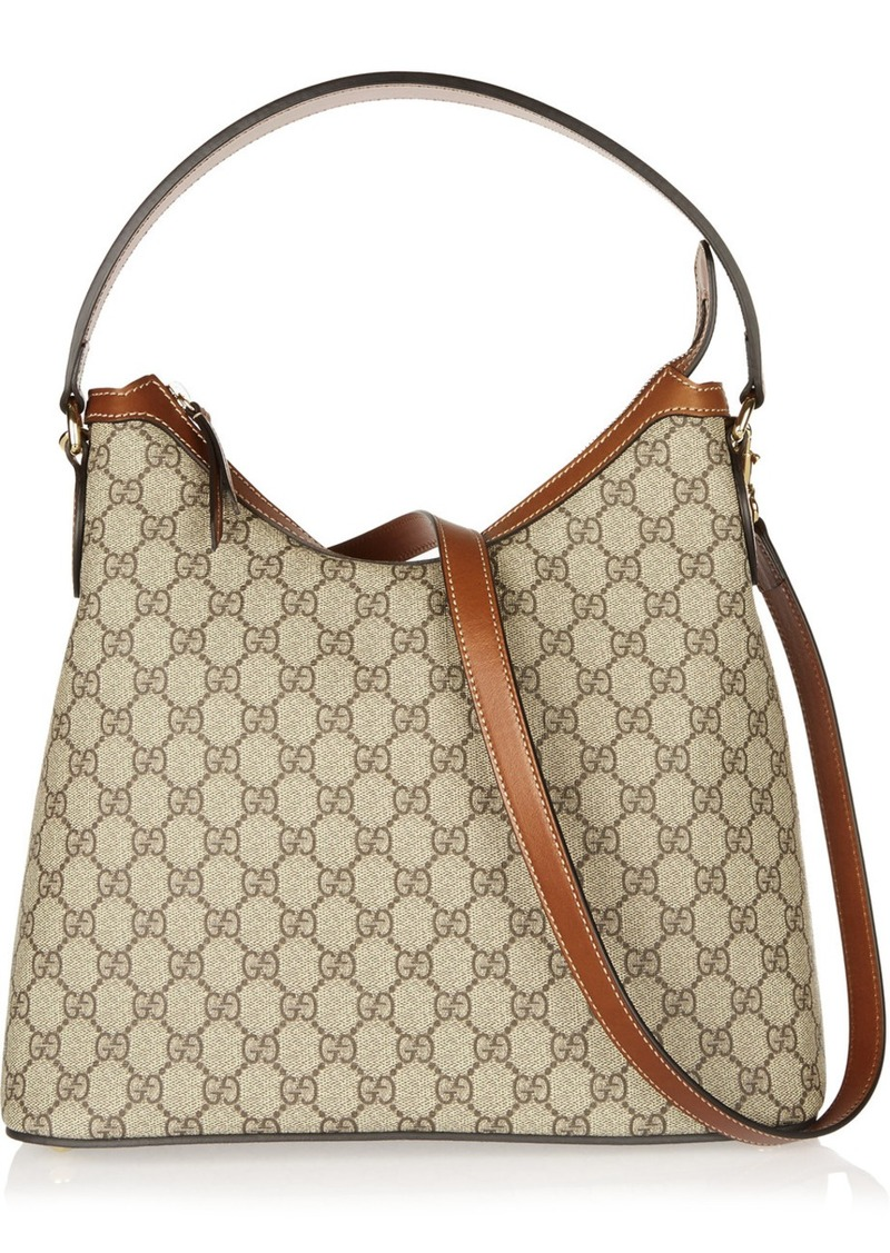 5130781425290e Gucci Gucci Linea A Hobo leather-trimmed coated-canvas shoulder bag ...