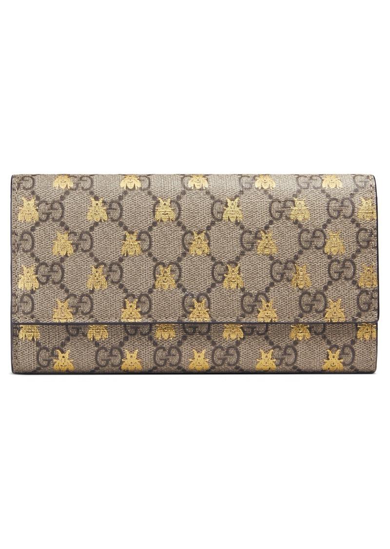 2540a3b7a32 Gucci Gucci Linea Bee GG Supreme Continental Wallet