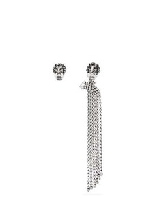 Gucci Lion and crystal tassel mismatched clip earrings