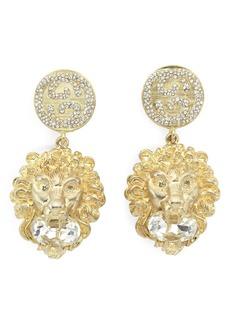 Gucci Lion Head Crystal Drop Earrings