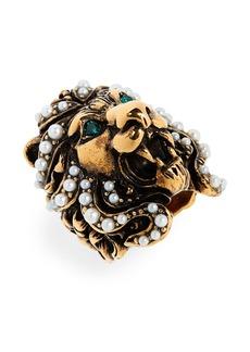 Gucci Lion Head Imitation Pearl & Crystal Ring