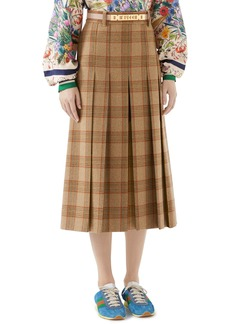 Gucci Logo Belt Plaid Midi Skirt