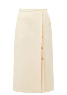 Gucci Logo-button silk-blend crepe skirt