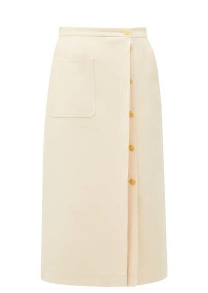 Gucci Logo-button silk-blend crepe skirt