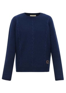 Gucci Logo-embroidered cabled-wool sweater
