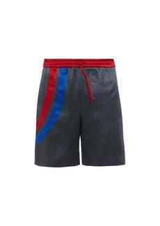 Gucci Logo-embroidered hammered-satin shorts