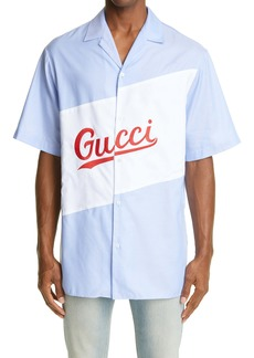 Gucci Logo Embroidered Short Sleeve Button-Up Bowling Shirt