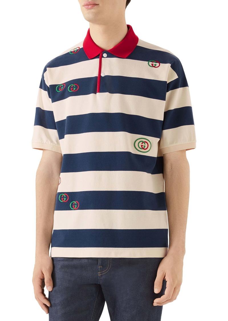 Gucci Logo Embroidered Stripe Short Sleeve Piqué Polo