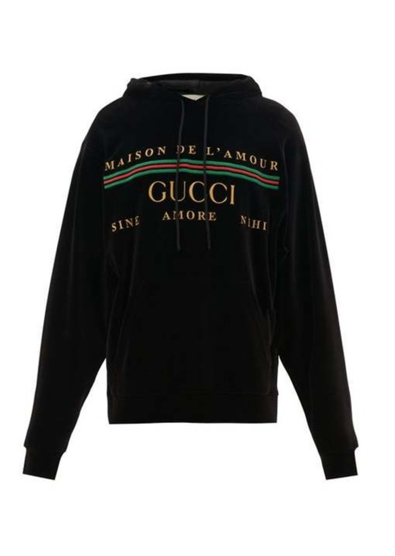 Gucci Logo-embroidered velour hooded sweatshirt