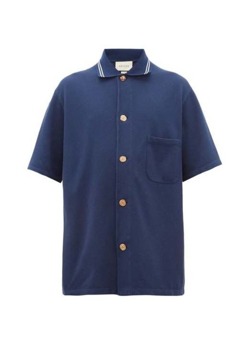 Gucci Logo-engraved button-down cotton polo shirt