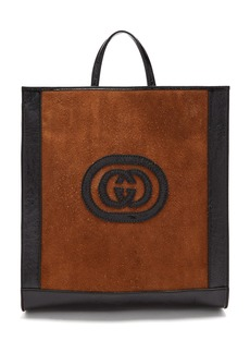 Gucci Logo-front suede tote