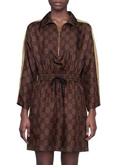 Gucci Logo Jacquard Long Sleeve Silk Twill Minidress