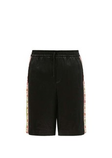Gucci Logo-jacquard striped satin shorts