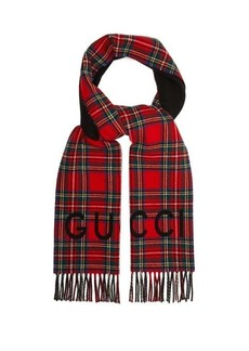 Gucci Logo-jacquard tartan wool-blend scarf