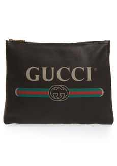 Gucci Logo Leather Pouch