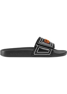 Gucci logo leather slide sandal