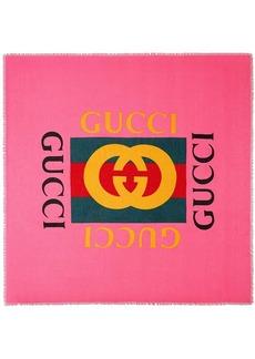 Gucci logo modal silk shawl