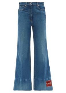 Gucci Logo-patch high-rise flared-leg jeans