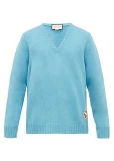 Gucci Logo-patch V-neck wool sweater