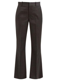 Gucci Logo-pinstripe flared wool-twill trousers