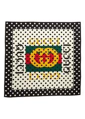 Gucci Logo Polka Dots Silk Scarf