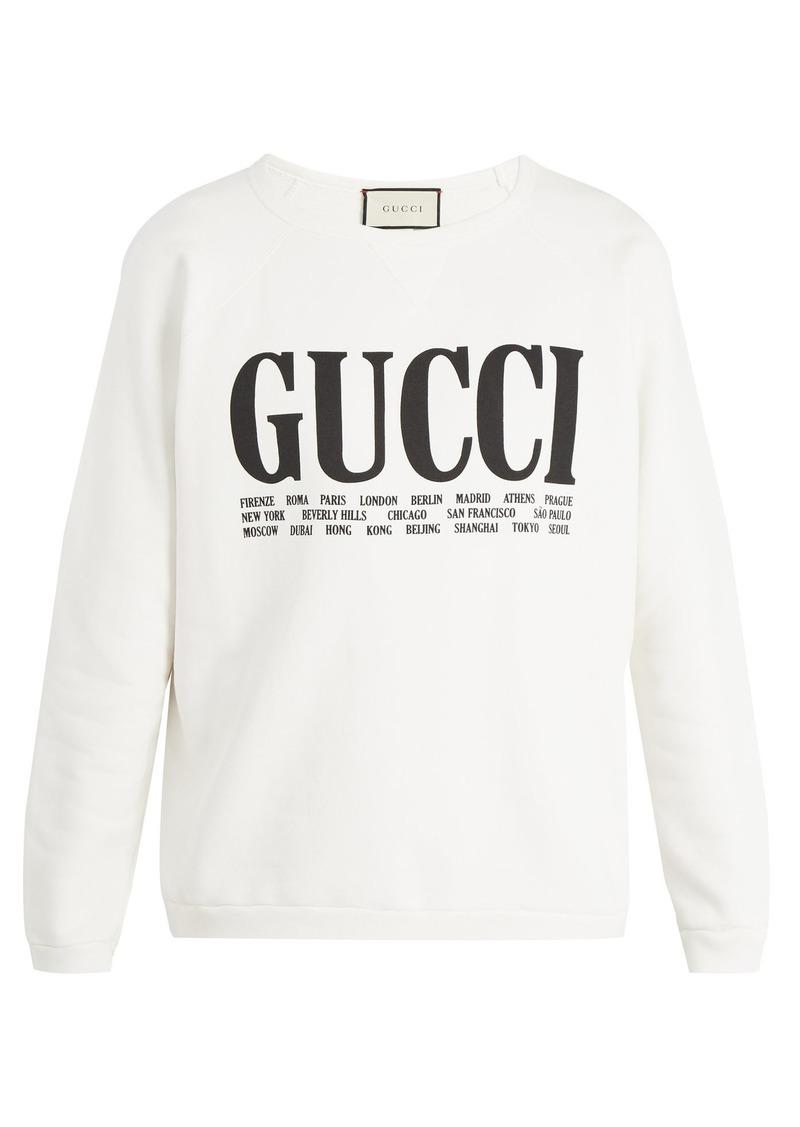 054af8dd67b3 Gucci Gucci Logo-print crew-neck cotton sweatshirt   Outerwear