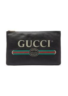 Gucci Logo-print large leather pouch