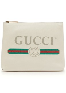 Gucci Logo-print leather pouch