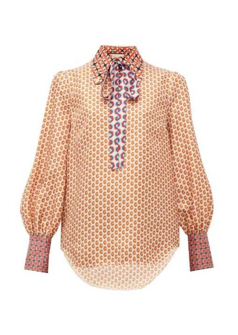Gucci Logo-print silk blouse