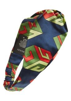 Gucci Logo Print Silk Head Wrap