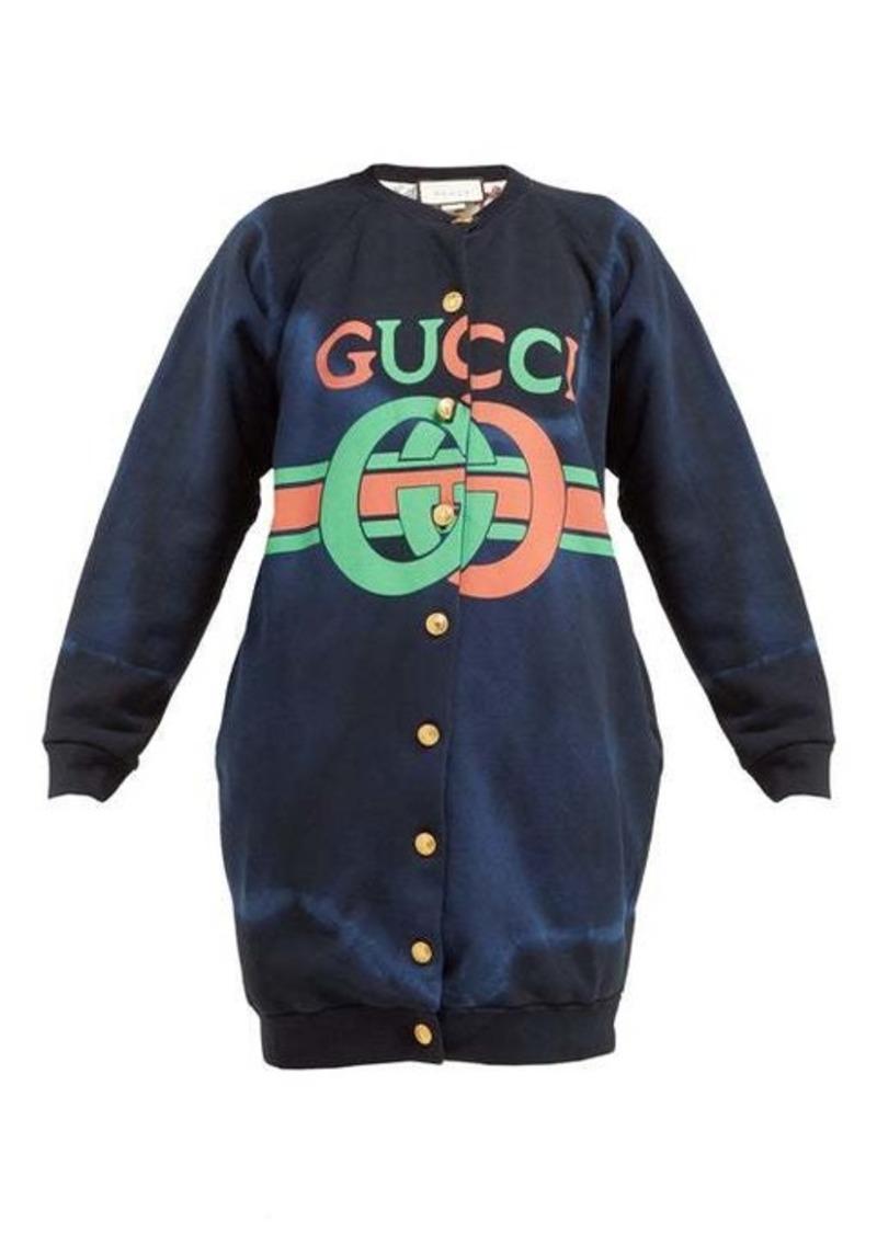 Gucci Logo-print tie-dyed cotton buttoned sweatshirt