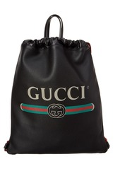 Gucci Logo Printed Leather Drawstring Backpack