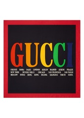 Gucci Logo & Cities Print Silk Twill Scarf
