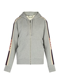Gucci Logo-stripe cotton hooded sweatshirt