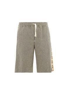Gucci Logo-stripe houndstooth shorts