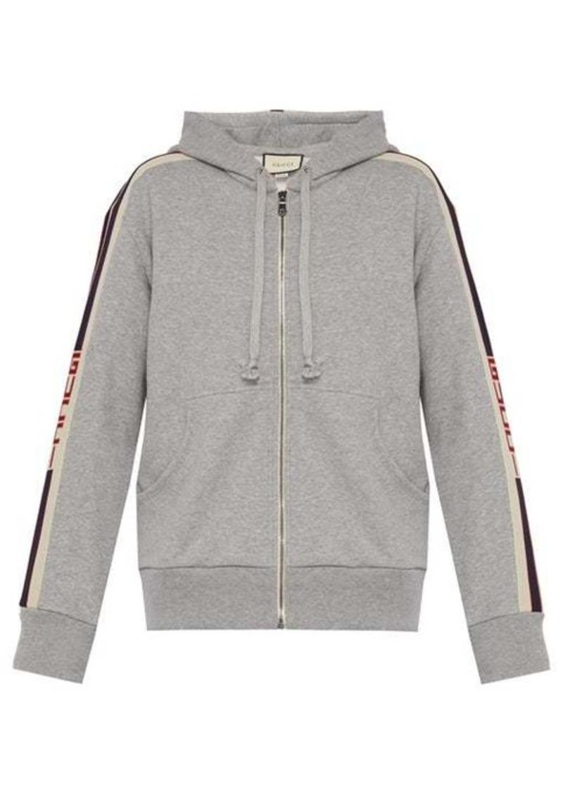Gucci Logo-tape zip-through hooded cotton sweatshirt