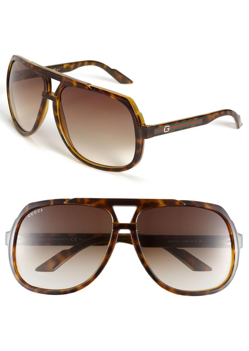 Gucci Logo Temple 63mm Aviator Sunglasses