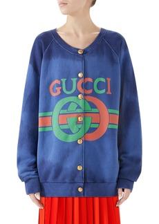 Gucci Logo Tie Dye Cotton Jersey Cardigan