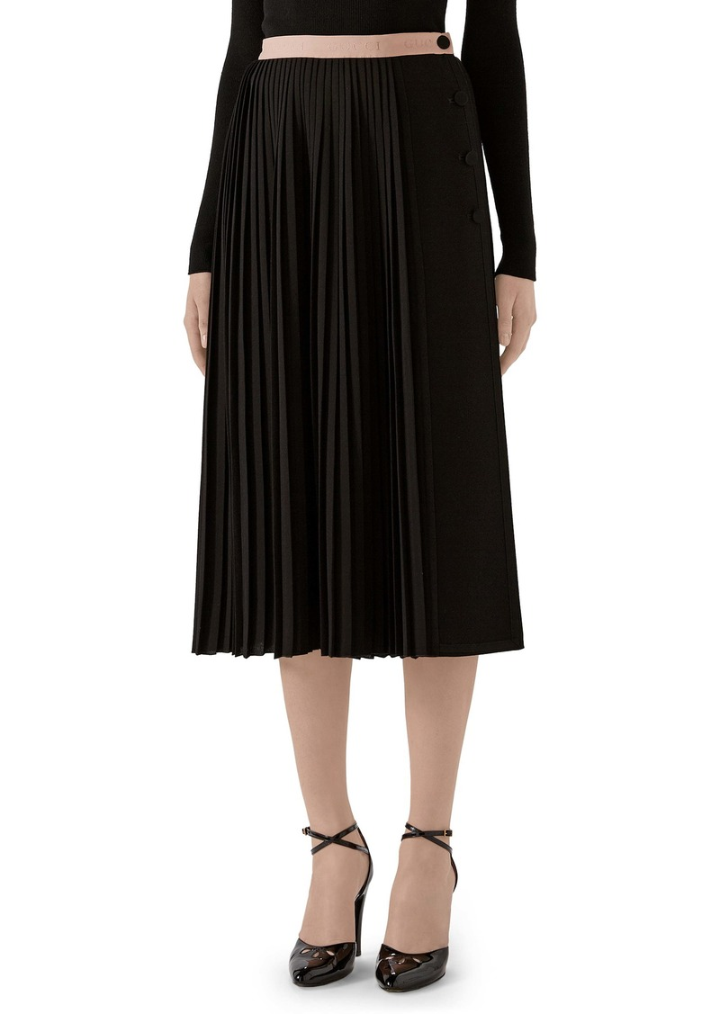 Gucci Logo Waist Pleated Wool Crepe Midi Skirt