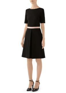 Gucci Logo Waist Wool Blend Jersey A-Line Dress