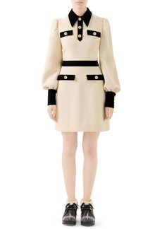 Gucci Long Sleeve Cady Crepe Dress with Removable Tie